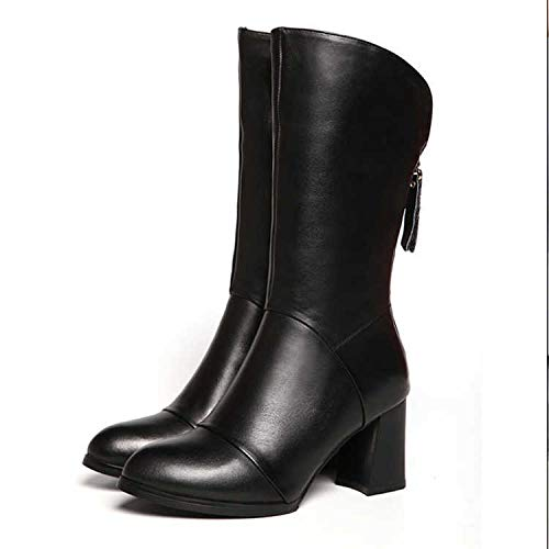 Martin Tacón Cálidas Señoras Alto Terciopelo Moda Botas Shoe E Mujer Para Invierno Phy Otoño Grueso De Tubo 黑色单里 Más Fw6OTgcqx