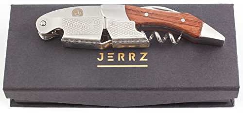 Sommelier, Waiter and Bartender Professional Wine Bottle Opener by Jerrz. Premium Quality All-in-One Corkscrew Made of Stainless Steel and Rosewood with Serrated Foil Cutter. Magnetic Gift Box