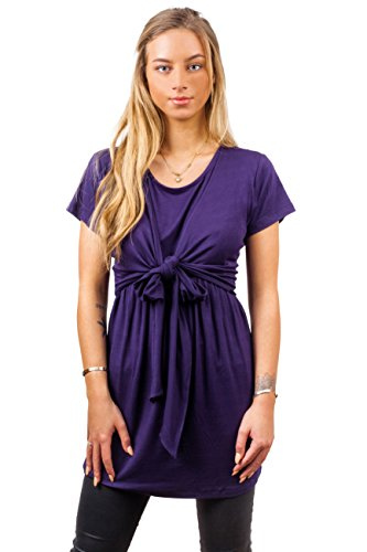 sofsy Soft-Touch Rayon Blend Tie Front Nursing & Maternity Fashion Top Dark Purple Large