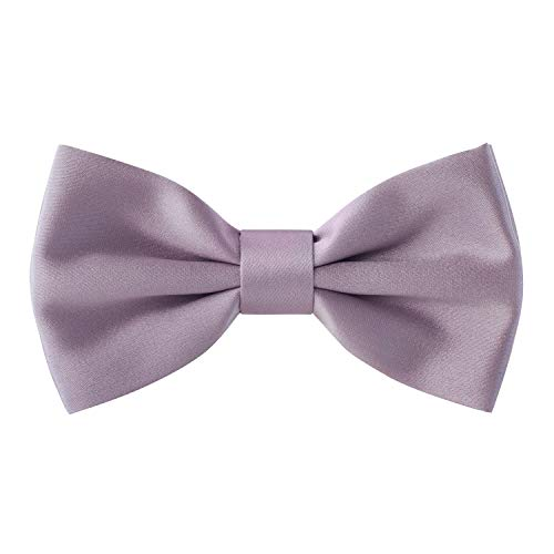 Real Silk Classic Pre-Tied Bow Tie Formal Solid Tuxedo, by Bow Tie House (Small, Lavender)