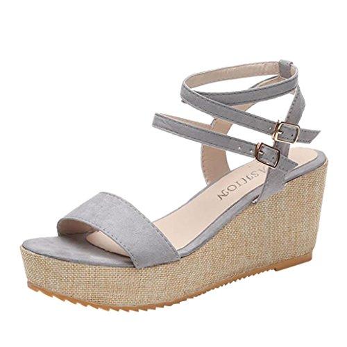 Été Coins Femme Mode Haut Chaussures Rome Sandales Pente Bouche Poisson Chaussures Bohème Plat Gris Pantoufles Talons Mode Forme JIANGfu Plate Sandales wEq4Xdw6