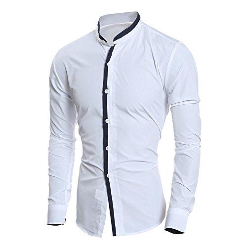 Simayixx Fress Shirts for Men Personality Men's Business Slim Fit T Shirt Casual Button Party Blouse Plus Size