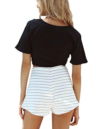 Simplee Apparel Women 's Casual Front tie short sleeve crop top camisa de algodón shrugs Cardigan Shrug Negro