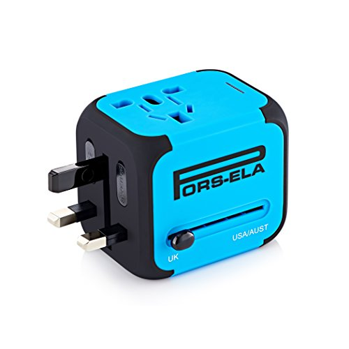 PORS-ELA International Travel Adapter with 2.4A Dual USB Charger & Worldwide AC Wall Outlet Plugs for Europe, UK, US & AU - Built-in Spare Fuse, Gift Pouch - Blue