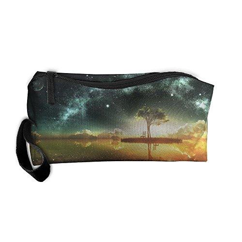 Portable Pencil Bag Purse Pouch Fantasy Island Night Stationery Storage Organizer Cosmetic -