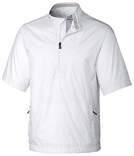 Cutter & Buck Mens Windtec Short Sleeve Tristan 1/2 Zip Pullover White L Shell Half Zip Mens Pullover