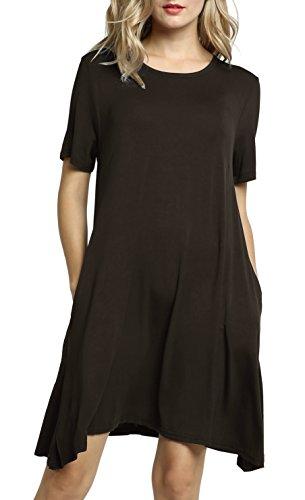 donna maniche shirt allentate corte a maniche forti Afibi T lunghe Taglie TqHwEXUT