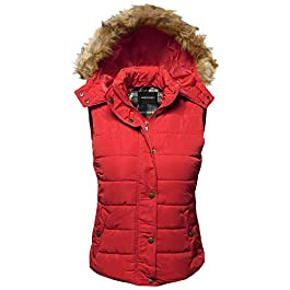 Awesome21 Women's Casual Drawstring Hooded Padding Junior Vest