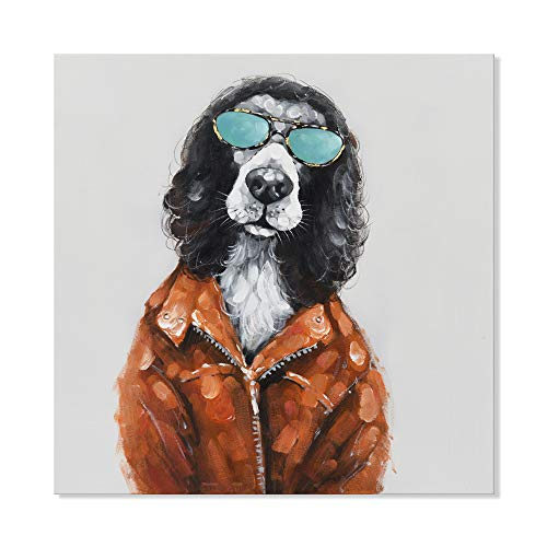 SEVEN WALL ARTS – Animal Wall Art 100 Hand Painted Oil Paintings on Canvas Modern Artwork Painting for Kids Room Home Decoration 24 x 24 Inch, Rock and Roll Dog