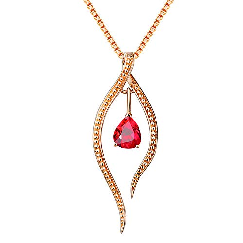Drop-Shaped Pendant Necklace for Women, Natural Agate Red Crystal Handmade with Golden Chain 18inch(Agate Red)