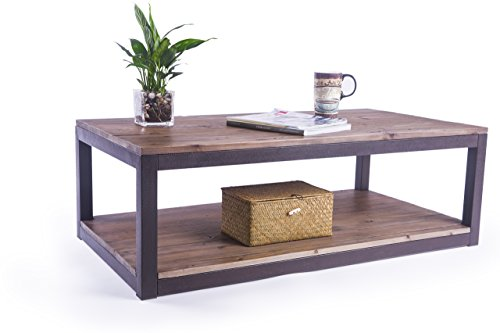 Care Royal Rustic Vintage Industrial Solid Wood and Metal 43.3″ Coffee Table Antique Cocktail Table with Storage Shelf for Living Room, Natural Reclaimed Wood, Sturdy Rustic Brown Metal Frame