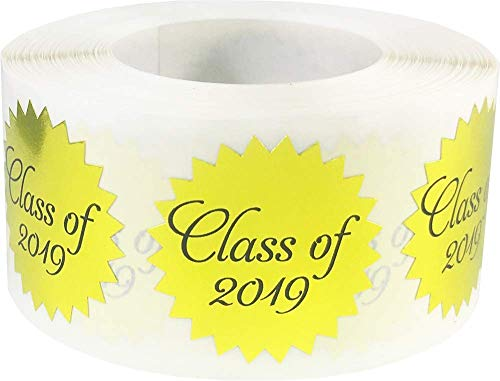 Class of 2019 Stickers for Envelope Seals Metallic Gold 1 Inch 500 Adhesive Labels -