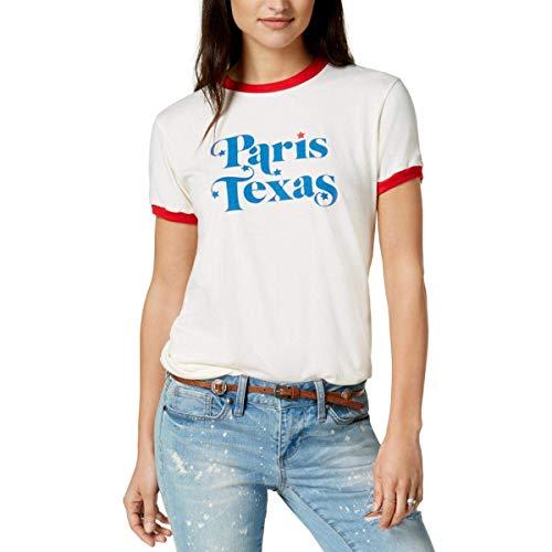 Ban. Do Women's Cotton Paris Texas Ringer Graphic T-Shirt (White, Small)