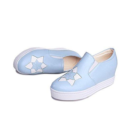 AgooLar Damen Rund Schließen Zehe Mittler Absatz Gemischte Farbe Pumps Schuhe See Blau