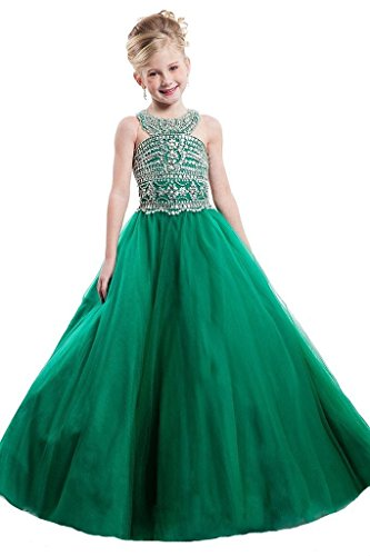 Sunday Girls Tulle Beaded Crystal Ball Gowns Full Length Pageant Dresses 16 US Emerald by Sunday Inc
