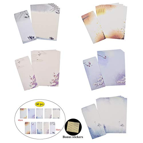 NUIBY 60 Pcs Stationery Paper and Envelopes Set (40 Stationery Paper + 20 Envelopes) Letter Set, Ink Painting Classic Vintage Antique Design