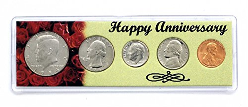 1984 - 34 Year Anniversary Year Coins Set in Happy Anniversary Holder Uncirculated