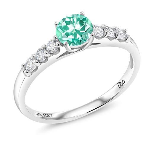 - Gem Stone King 0.76 Ct Round Blue Apatite G-H Lab Grown Diamond 10K White Gold Ring (Size 7)