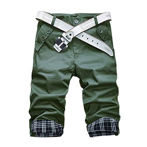 Kiden ハーフパンツ ショート 5分丈 パンツ ファッション メンズ 短パン カジュアル ゆったり 大きいサイズ シンプル 快適 通気性 通勤 夏 半ズボン 7分丈 無地 格子