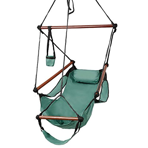 OnCloud Sky Chair, Deluxe Hanging Hammock Air Chair Swing Seat with Pillow, Drink Holder, Solid Wood Weather Resistant for Indoor/Outdoor Yard Garden Tree Patio Porch, 250 LBS, Green (Round Hanging Hammock)