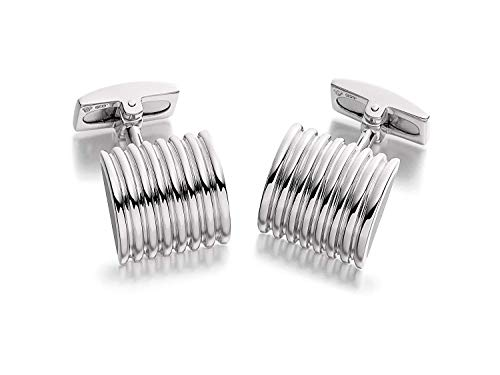 - Hoxton London Men's Sterling Silver Ribbed w/Black Agate Cufflinks