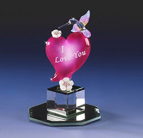 I Love You Hummingbird Miniature Collectible Heart Glass Figurine Crystal Cut Base Porcelain Rose