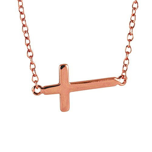 oldtone 925 Silver Sideways Cross Necklace 16 inch - 17 inch ()