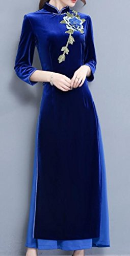 Cheongsam Comfy Gold Collar Velvet Pattern1 Side Slit Embroidery Womens Stand HaOZgRq