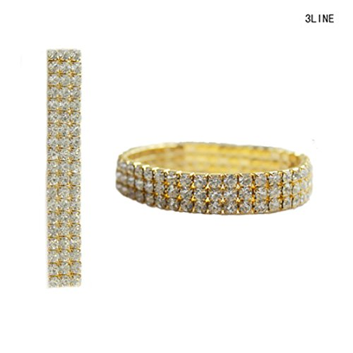 Clear Rhinestone Pave 3 Row Stretch Bracelet in Gold-Tone ()