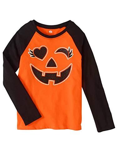 PUMPKIN Girls Winking Orange & Black Glitter Halloween T-Shirt Raglan Tee XS ()