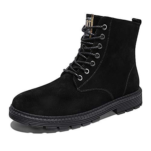 Stivali da Lavoro Uomo Leggero Impermeabile Scarpe da Ginnastica Scarpe in Pelle Martin Stivali Autunno E Inverno per Il Tempo Libero Alto Black