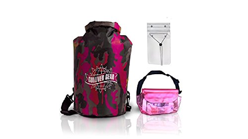 Price comparison product image HOT - Waterproof Dry Bag Set: 20L PINK CAMOUFLAGE Duffel + X-Large Cell Phone Pouch + Waist Pack