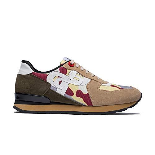 OPP Men's Casual Leather Mesh Energy Lace-Up Sneaker Khaki