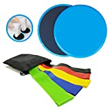 Cheap HiFans 2Pcs Double Sided Gliding Discs Core Sliders and 5Pcs Exercise Resistance Loop Bands, Total Body Home Exercise Equipment, Travel Abs Booty Fitness