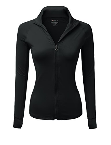 Doublju Stretchy Active Work Out Zip Up