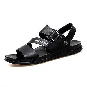 LUKEEXIN Roman Slippers Men's Beach Rubber Drag Slippers (Color : Black, Size : 43)