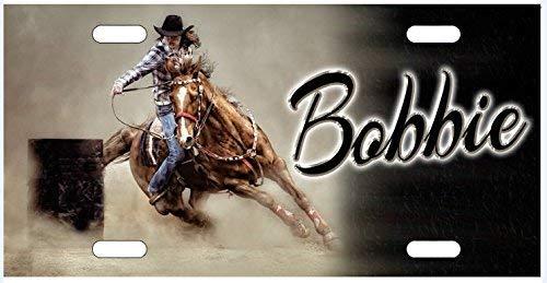 Strawbaru Barrel Racer Rodeo Horse License Plate, Auto Car Tag, Aluminum Novelty Vanity Plate, Auto Tag, Fantasy Decor.