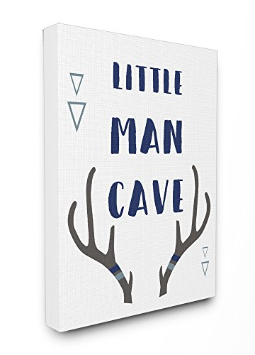 - Stupell Home Décor Little Man Cave Antlers Typography Stretched Canvas Wall Art, 16 x 1.5 x 20, Proudly Made in USA