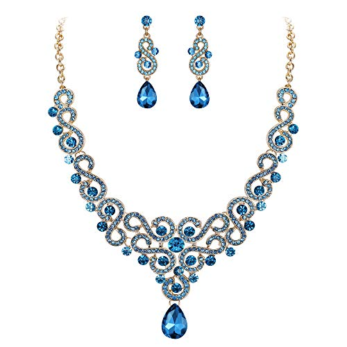 (EVER FAITH Women's Austrian Crystal Wedding S-Shaped Teardrop Necklace Earrings Set Blue Gold-Tone)
