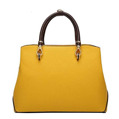 Sac à bandoulière Messenger Fashion grande capacité, européen et américain, en cuir jaune