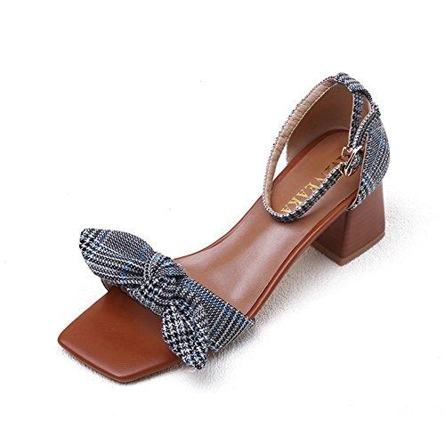 cf0c80ba Sandalias ZCJB Palabra Zapatos De Mujer Con Hebilla De Pendiente Zapatos  Romanos Tacón Medio Con Tacón