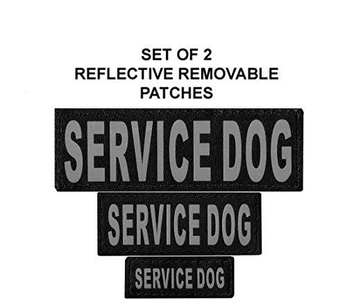 Set of 2 Service Dog ReflectiveSERVICE DOG Velcro Patches for dog harnesses & vests.