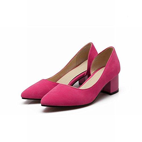 Zapatos Carol Chic Elegancia De Las Mujeres Del Talón Del Dedo Del Pie Puntiagudo Chunky Bombas De Tacón Medio Zapatos De Vestir Rose Red