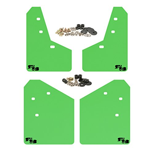 RokBlokz Mud Flaps for 2013-2017 Subaru XV Crosstrek - Multiple Colors Available - Mud Guards are Custom Cut and Fit - Includes All Mounting Hardware (Lime Green with Black Logo) ()