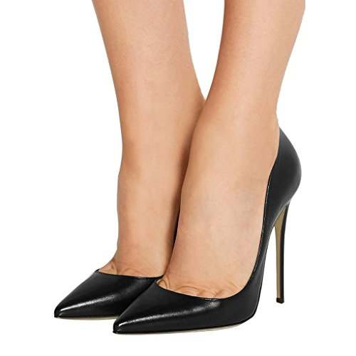 Toe on Eldof Pumps 12CM Heels heel Women's Slip Pointed BlackMatt Pumps Classic High Office 4wq41g0