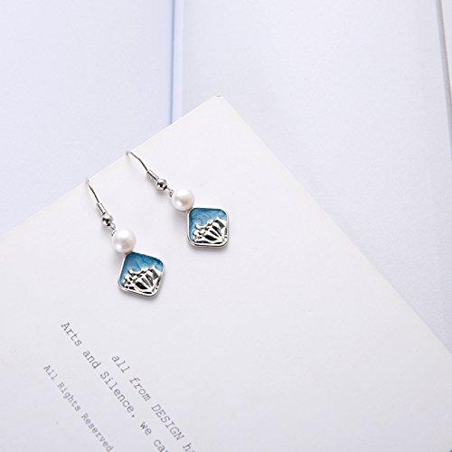 usongs Deer minimalist sea waves freshwater pearl earrings beach resort cool blue earrings earrings ()