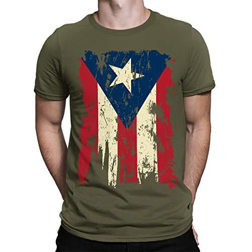 - SpiritForged Apparel Vintage Distressed Puerto Rico Men's T-Shirt, Moss 2XL