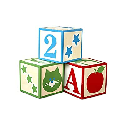 Melissa & Doug Set of 3 Jumbo Wooden ABC-123 Alphabet and Number Toy Blocks Nursery Playroom Décor – Classic (Red, Green, Blue, Great Gift for Girls and Boys - Best for 2, 3, 4 Year Olds and Up): Toys & Games