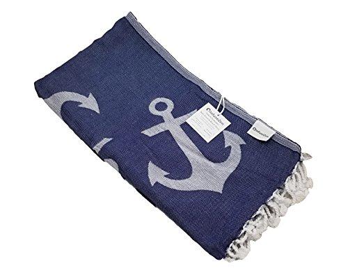 InfuseZen Reversible Anchor Print Turkish Towel, Extra Large