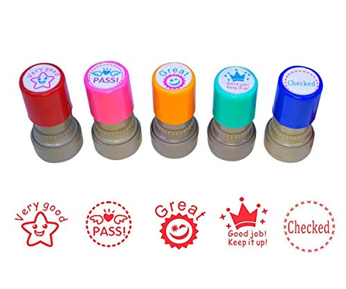 WAF Pack of 5 Sorted Teacher Stamps Teacher Self-Inking Rubber Stamps Teacher Review Photosensitive Stamps for Education